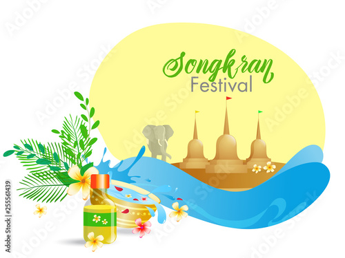 Printed kitchen splashbacks Castle Water Festival of Songkran poster or flyer design with illustration of elephant, coconut tree and different festival element on white background.