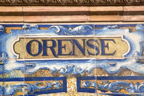 Orense Sign; Plaza de Espana Square; Seville