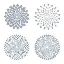 Design Elements Set. Abstract Circle Geometric Patterns.
