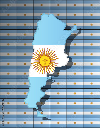 Fotografie, Tablou  Graphic illustration of an Argentinian flag with a contour of its borders