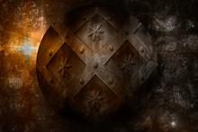 Aged Circle Medieval Shield Ov...