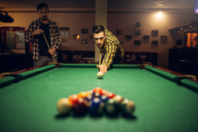 Male Billiard Player With Cue ...