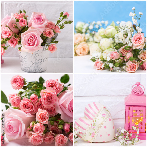 Photo  Collage from  romantic photos with pink roses flowers  on textured background