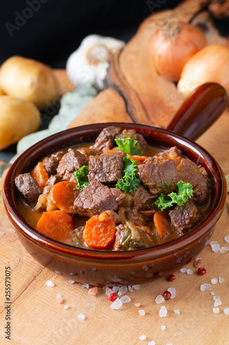 Fotografie, Obraz  Food concept french classic beefs stew estouffade de boeuf with copy space