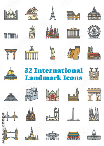 Foto  Set of 36 international landmark icons