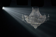 Beautiful Crystal Chandelier In The Rays Of Light