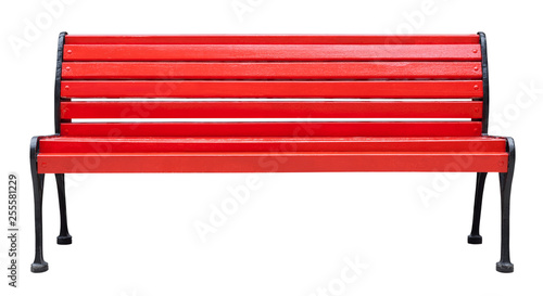 Canvas Print Colorful wooden bench painted in red with metal legs, isolated on a white backgr