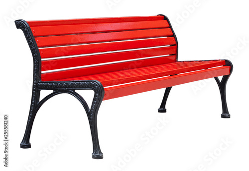 Foto Perspective view on a colorful wooden bench painted in red with black metal legs