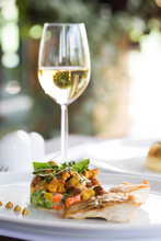 Baked Sea Bass With Chanterelles And Vegetables