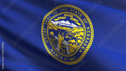 Nebraska state flag in The United States of America, USA, blowing in