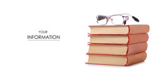 Books And Glasses For Vision Pattern On A White Background. Isolation