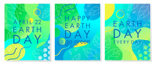 Set Of Earth Day Posters With Bright Gradient Backgrounds,liquid Shapes,tiny Leaves And Geometric Elements.Earth Day Layouts Perfect For Prints, Flyers,covers,banners Design And More.Eco Concept.
