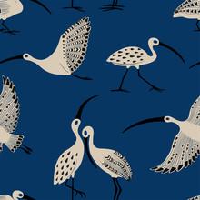 Seamless Pattern With Ibis Bir...