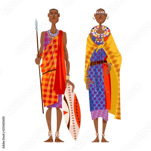 Maasai couple (warrior and girl) in traditional clothing. Africa, Kenya. Wall mural
