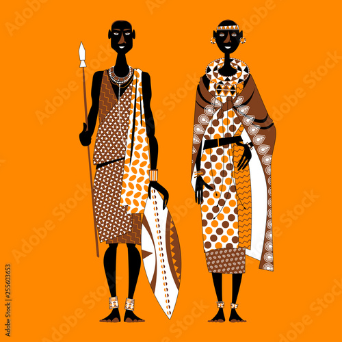 Maasai couple (warrior and girl) in traditional clothing