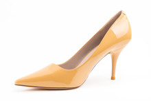 Luxury Cream High Heel Isolated On White Background..With Clipping Path For Design And Artwork. High Quality.....With Clipping Path For Design And Artwork. High Quality Image.