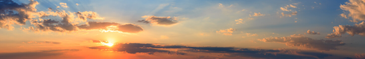 Summer sunset sky panorama