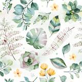Piękny wzór akwarela z sukulentów, liści palmowych i paproci, gałęzi, kwiatów i więcej. Biała tekstura. Idealny na ślub, tapety, druk, projekt okładki, projektowanie opakowań, tła - 255607031