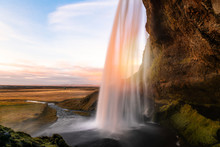 Scenic Seljalandsfoss Waterfall In Iceland At Sunset In Autumn