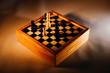 canvas print picture - Schach, Chess, Spiel, Dame, König, Strategie, Schwarz, Weiß, Holz, Hintergrund, Schatten, Dunkel