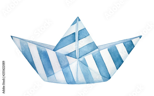 Little decorative folded paper boat decorated with blue stripes pattern Canvas Print