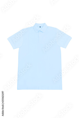 Front View Of Blank Light Blue Polo T Shirt Template For