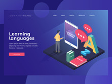 Concept On-line Learning And Teaching Of Foreign Languages. Student Stands In Front Of Gadget Near Textbooks At English, French And Letters Of Latin Alphabet. 3d Isometric Design. Landing Page.