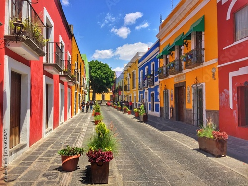 Colonial street in Puebla City, Mexico