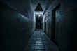 canvas print picture - Dark corridor. Mystical interior of dark empty corridor, tunnel in an abandoned house. Dark mysterious corridor. The interior of an abandoned house, road to hell.