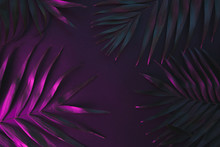Tropical And Palm Leaves In Vibrant Bold Gradient Holographic Neon Colors , Background.