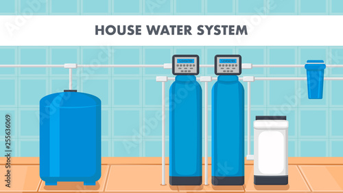 Fotografía  House Water System Cartoon Web Banner with Text