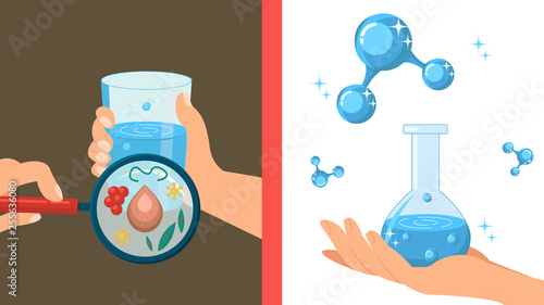 Cuadros en Lienzo Pure and Dirty Water Color Vector Illustration