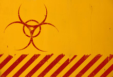 Red Biohazard Sign Over Yellow...
