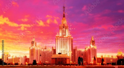 Fotobehang Roze Vbrant wide angle panoramic evening view of illuminated famous R