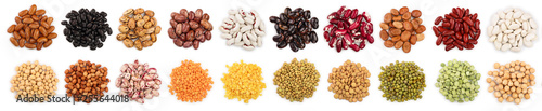 Fototapeta mix legumes isolated on white background. Top view. Flat lay obraz