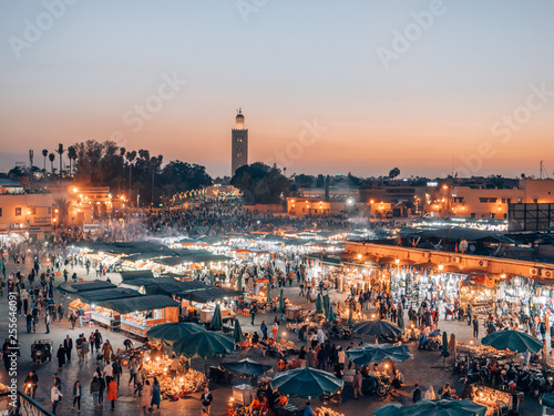 Deurstickers Marokko Djemaa el Fna - a famous market place in Marrakech, Morocco while sunset