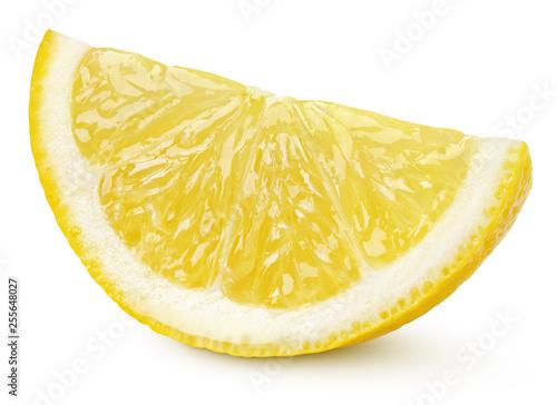Fotografia Ripe slice of yellow lemon citrus fruit isolated on white background with clipping path