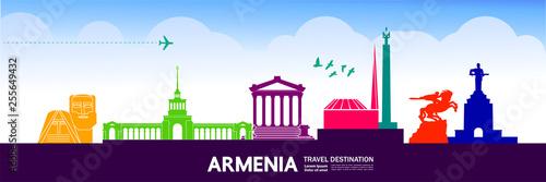 Photo Armenia travel destination vector illustration.