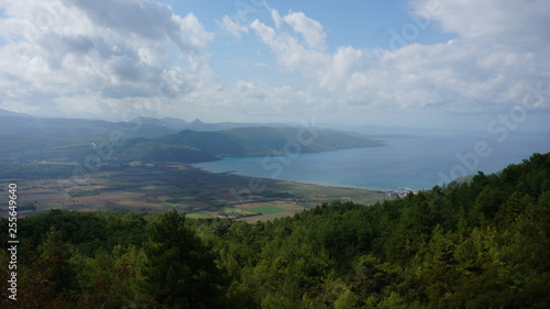 Tuinposter Purper Mediterranean sea landscape, blue sea and green forest on the island