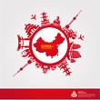 CHINA travel destination vector illustration.