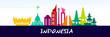 INDONESIA travel destination vector illustration.