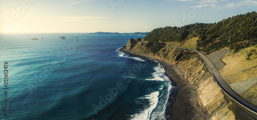Cote Pacific Coast Highway 101 in Oregon near Port Orford and Humbug Mountain, taken from the air with a drone