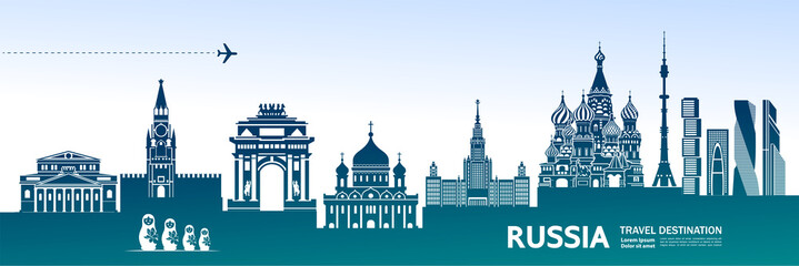 RUSSIA travel destination vector illustration.