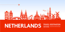 Netherlands Travel Destination Vector Illustration.