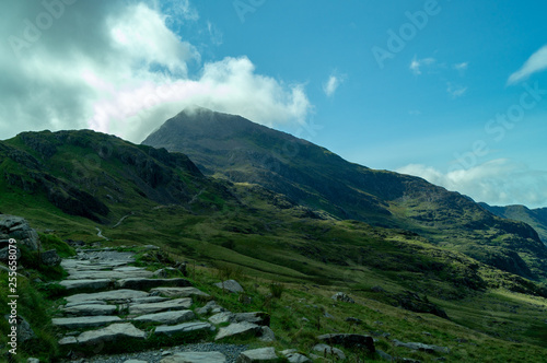 Tuinposter Zwart Snowdon, landscape with mountains and clouds