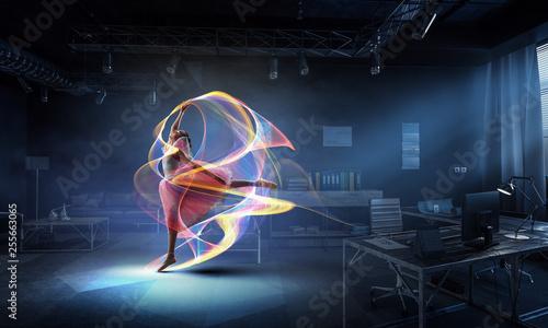 Obraz na plátně  Dreaming to become ballerina. Mixed media