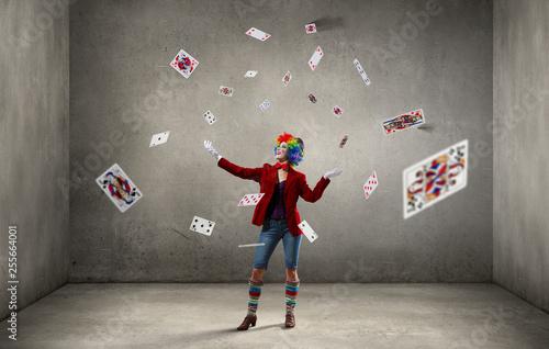 Juggling woman clown . Mixed media Wallpaper Mural