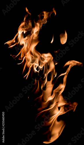 Fire and flame texture isolated on black background