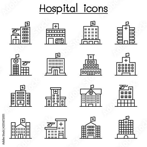 Fotografía  Hospital building icon set in thin line style