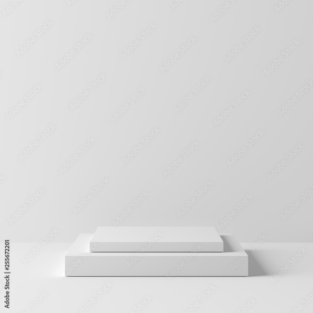 Fototapety, obrazy: Abstract geometry square shape white color podium on white background for product. minimal concept. 3d rendering